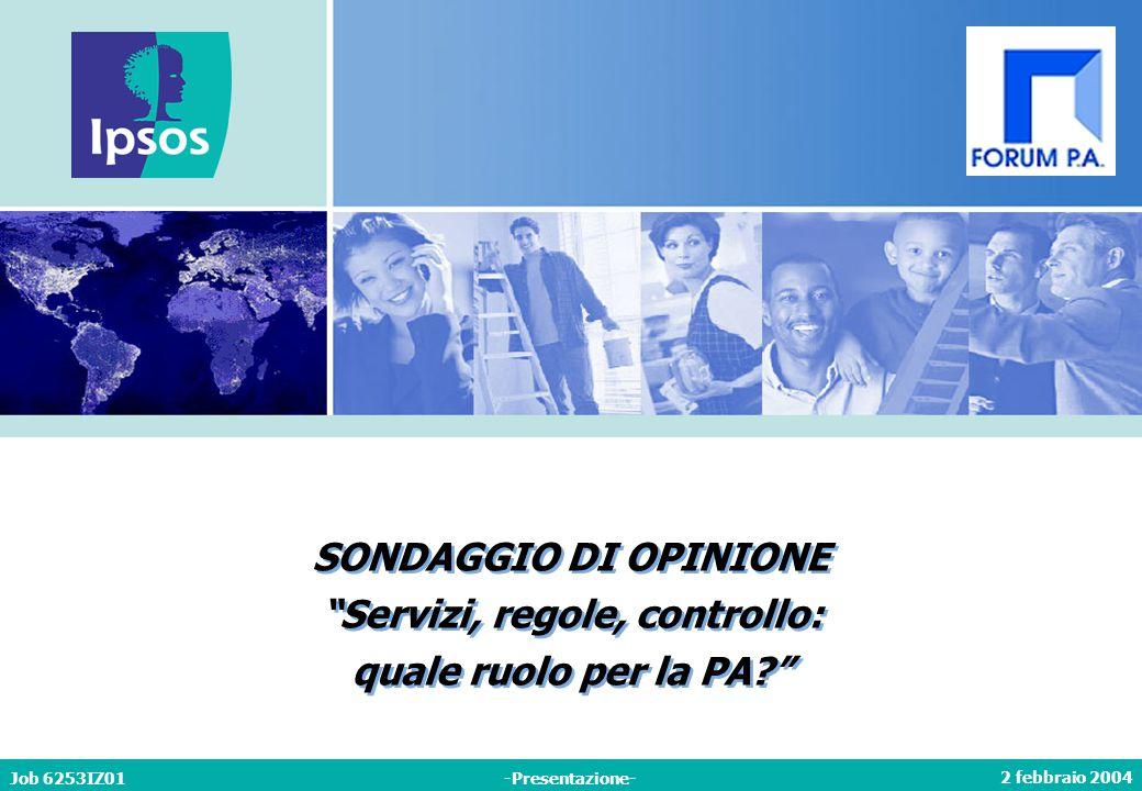 2 febbraio 2004 Job 6253IZ01-Presentazione- SONDAGGIO DI OPINIONE Servizi, regole, controllo: quale ruolo per la PA SONDAGGIO DI OPINIONE Servizi, regole, controllo: quale ruolo per la PA
