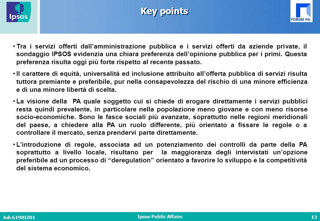 13 Job 6198IZ01 Ipsos Public Affairs Key points Tra i servizi offerti dall'amministrazione pubblica e i servizi offerti da aziende private, il sondaggio IPSOS evidenzia una chiara preferenza dell'opinione pubblica per i primi.