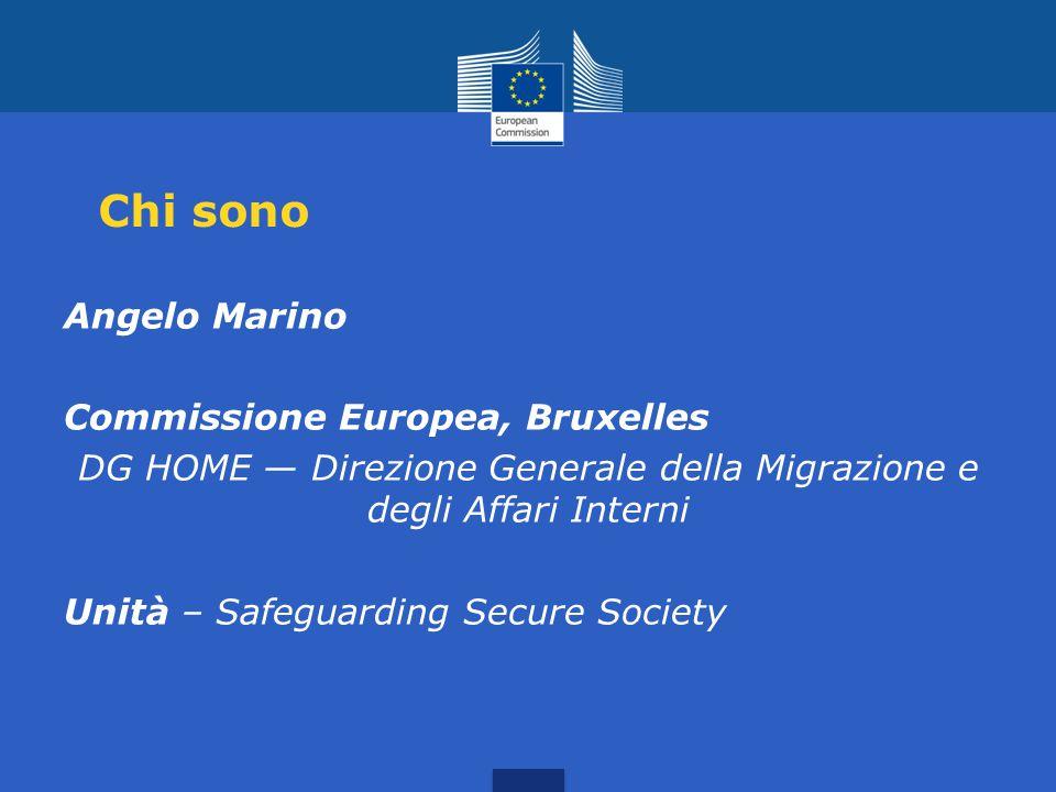 Chi sono Angelo Marino Commissione Europea, Bruxelles DG HOME — Direzione Generale della Migrazione e degli Affari Interni Unità – Safeguarding Secure Society