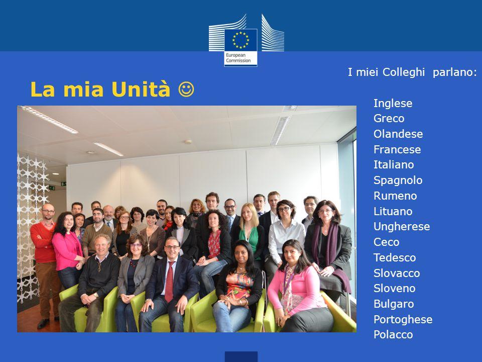 La mia Unità I miei Colleghi parlano: Inglese Greco Olandese Francese Italiano Spagnolo Rumeno Lituano Ungherese Ceco Tedesco Slovacco Sloveno Bulgaro Portoghese Polacco