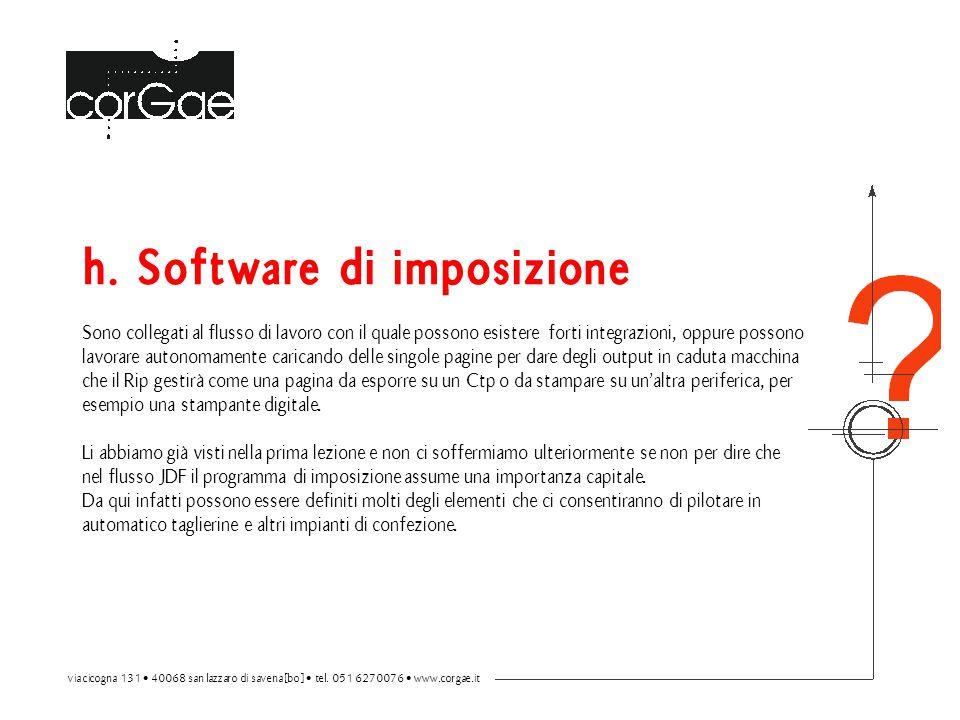 h. Software di imposizione Sono collegati al flusso di lavoro con il quale possono esistere forti integrazioni, oppure possono lavorare autonomamente