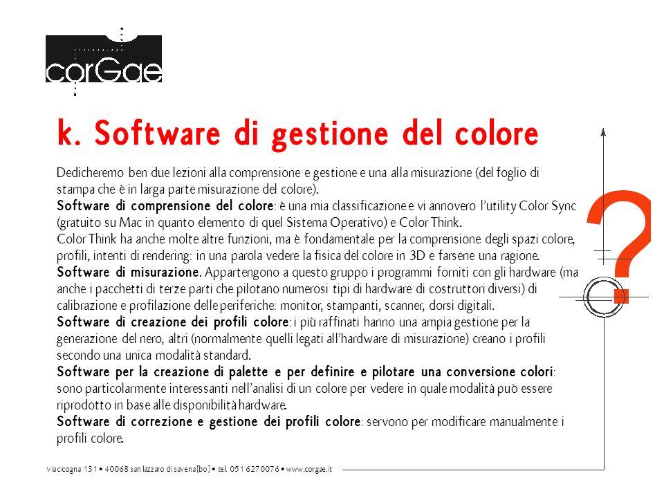 k. Software di gestione del colore Dedicheremo ben due lezioni alla comprensione e gestione e una alla misurazione (del foglio di stampa che è in larg