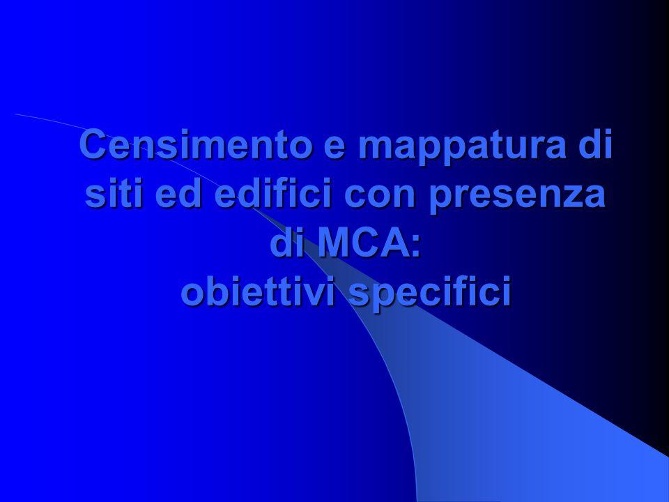 Incarico ARPAM Mappatura La Regione Marche, alla fine del 2005, ha incaricato l'ARPAM di occuparsi della mappatura del territorio regionale interessato dalla presenza di amianto, elaborando i dati del censimento amianto degli edifici e delle imprese.
