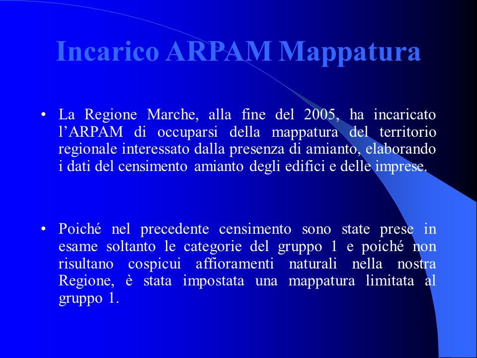 Incarico ARPAM Mappatura La Regione Marche, alla fine del 2005, ha incaricato l'ARPAM di occuparsi della mappatura del territorio regionale interessat