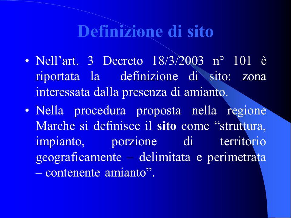 Definizione di sito Nell'art. 3 Decreto 18/3/2003 n° 101 è riportata la definizione di sito: zona interessata dalla presenza di amianto. Nella procedu