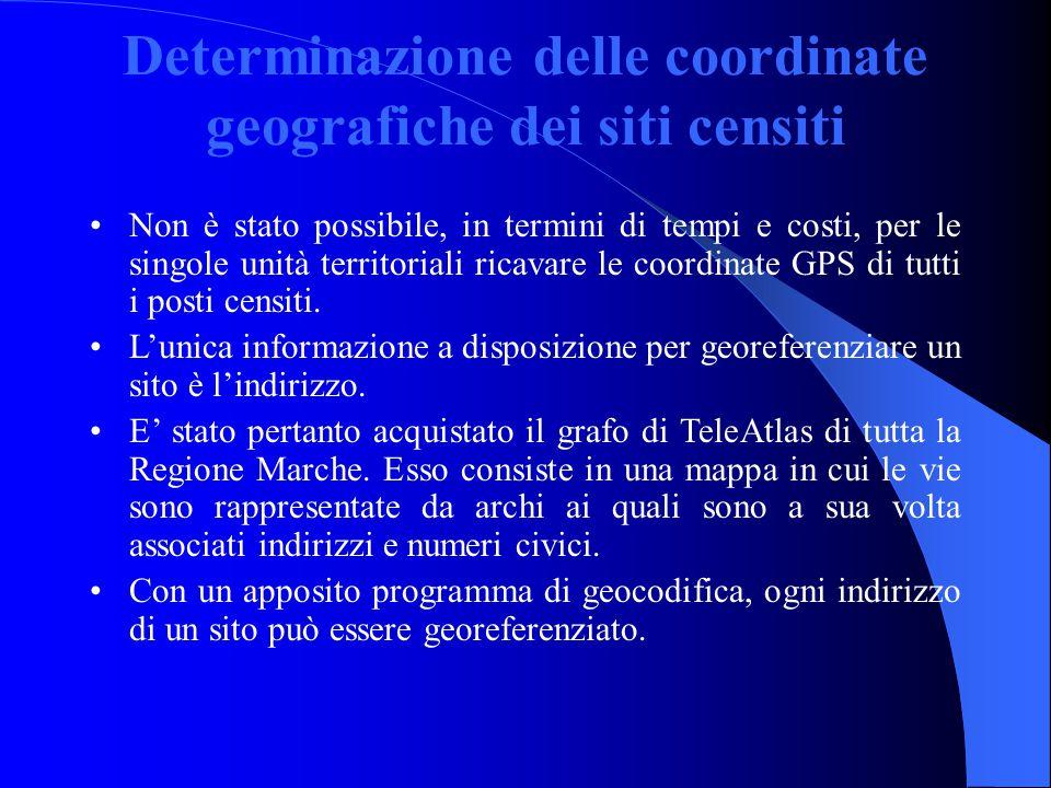 Determinazione delle coordinate geografiche dei siti censiti Non è stato possibile, in termini di tempi e costi, per le singole unità territoriali ricavare le coordinate GPS di tutti i posti censiti.
