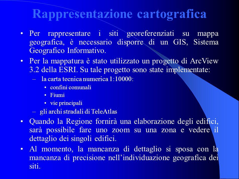 Rappresentazione cartografica Per rappresentare i siti georeferenziati su mappa geografica, è necessario disporre di un GIS, Sistema Geografico Informativo.