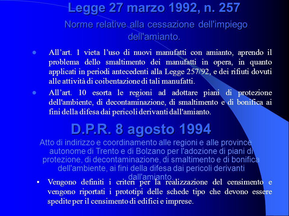 Legge 27 marzo 1992, n. 257 Norme relative alla cessazione dell'impiego dell'amianto. All'art. 1 vieta l'uso di nuovi manufatti con amianto, aprendo i