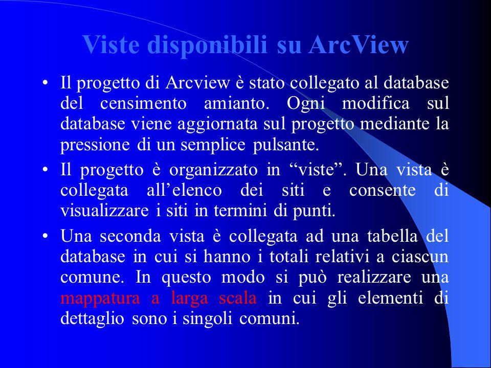 Viste disponibili su ArcView Il progetto di Arcview è stato collegato al database del censimento amianto. Ogni modifica sul database viene aggiornata
