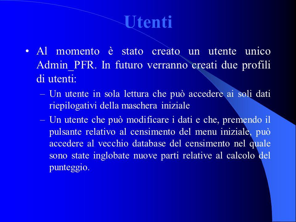 Utenti Al momento è stato creato un utente unico Admin_PFR. In futuro verranno creati due profili di utenti: –Un utente in sola lettura che può accede