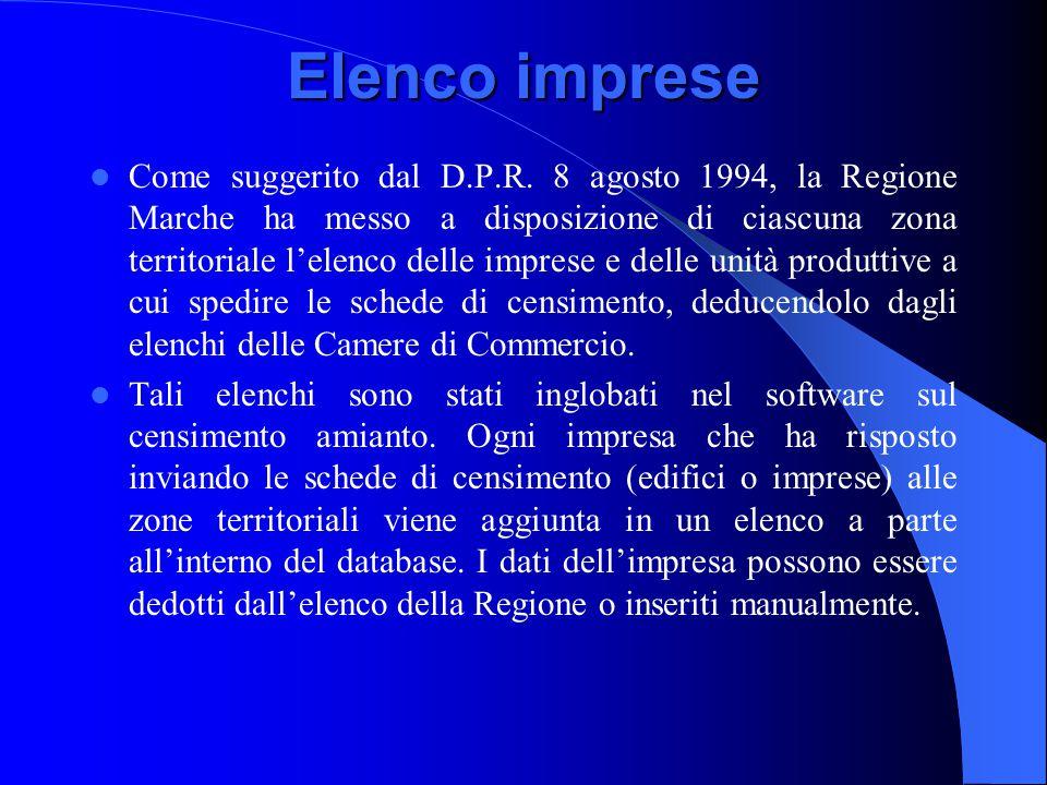 Elenco imprese Come suggerito dal D.P.R. 8 agosto 1994, la Regione Marche ha messo a disposizione di ciascuna zona territoriale l'elenco delle imprese