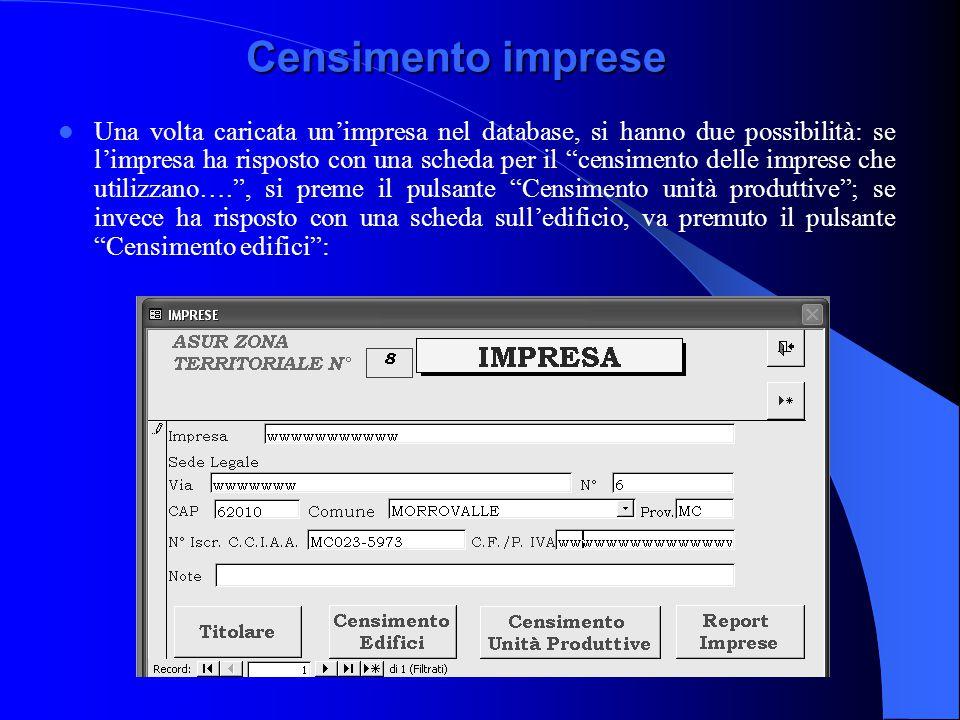 """Censimento imprese Una volta caricata un'impresa nel database, si hanno due possibilità: se l'impresa ha risposto con una scheda per il """"censimento de"""