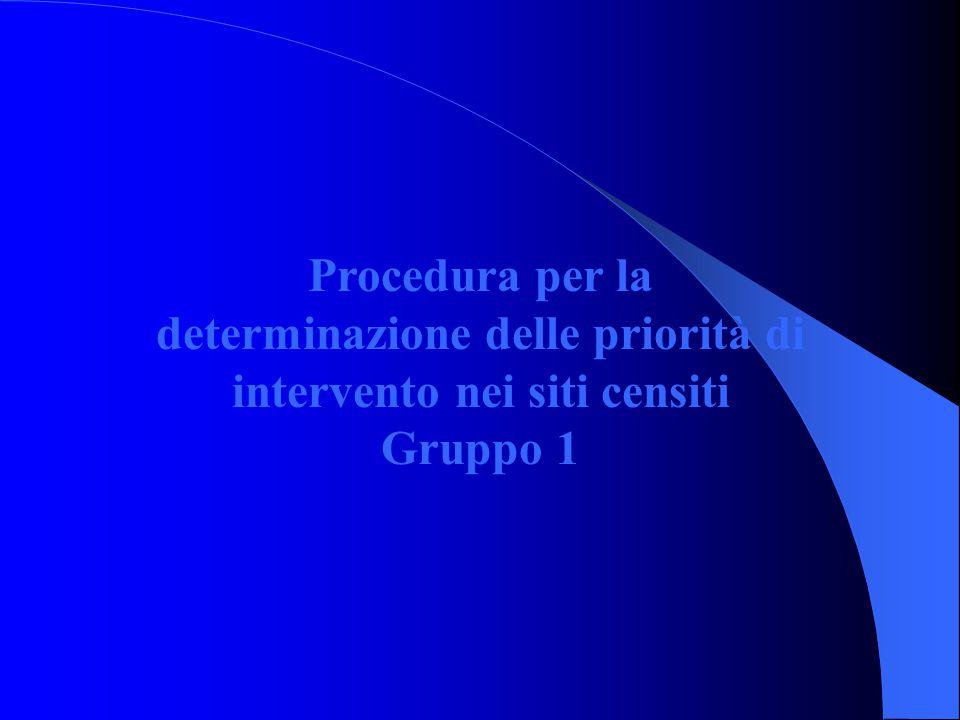 Procedura per la determinazione delle priorità di intervento nei siti censiti Gruppo 1