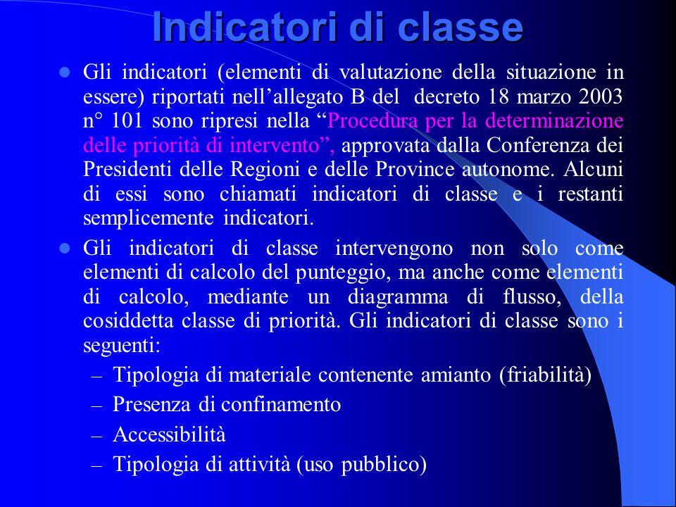 Indicatori di classe Gli indicatori (elementi di valutazione della situazione in essere) riportati nell'allegato B del decreto 18 marzo 2003 n° 101 so