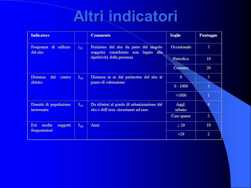 Altri indicatori Indicatore CommentoSogliePunteggio Frequenza di utilizzo del sito i 13 Fruizione del sito da parte del singolo soggetto considerato n