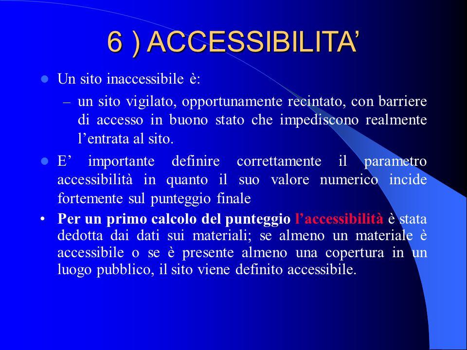 6 ) ACCESSIBILITA' Un sito inaccessibile è: – un sito vigilato, opportunamente recintato, con barriere di accesso in buono stato che impediscono realmente l'entrata al sito.