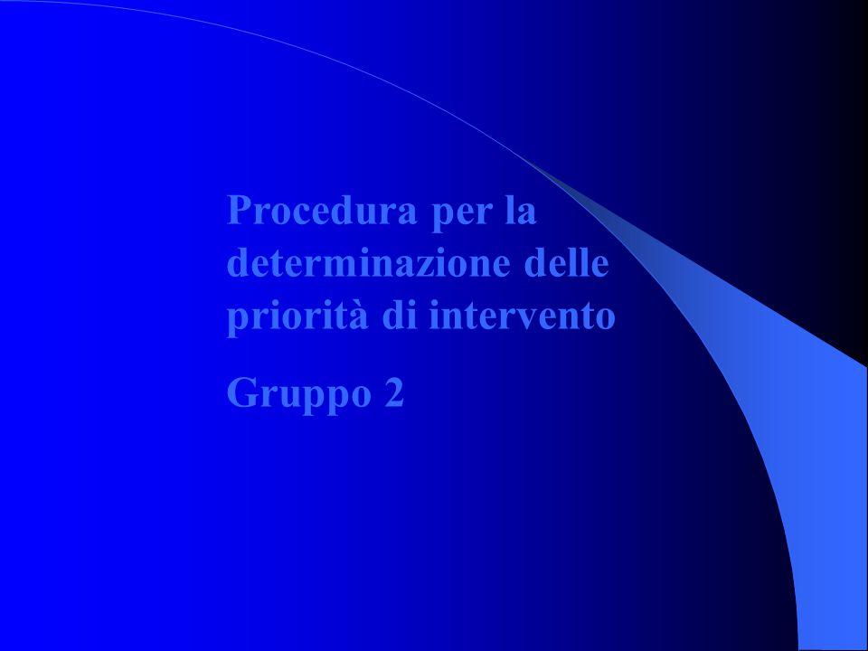 Procedura per la determinazione delle priorità di intervento Gruppo 2