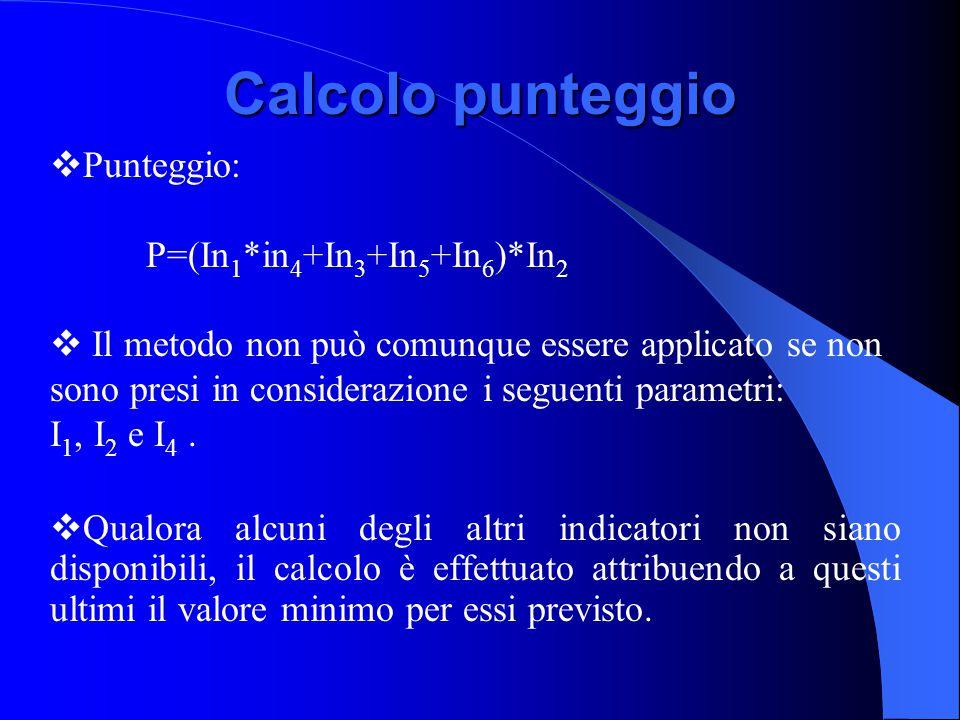 Calcolo punteggio  Punteggio: P=(In 1 *in 4 +In 3 +In 5 +In 6 )*In 2  Il metodo non può comunque essere applicato se non sono presi in considerazione i seguenti parametri: I 1, I 2 e I 4.