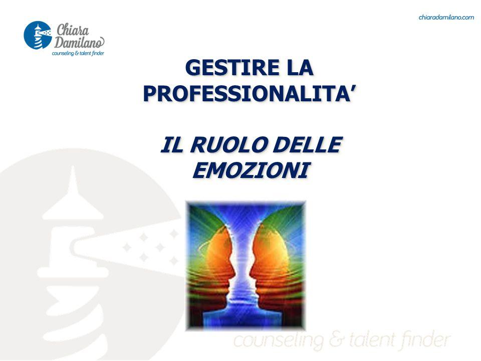 GESTIRE LA PROFESSIONALITA' IL RUOLO DELLE EMOZIONI GESTIRE LA PROFESSIONALITA' IL RUOLO DELLE EMOZIONI