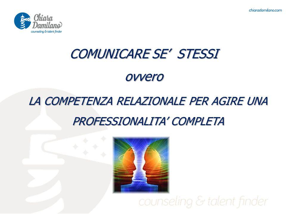 LA COMPETENZA RELAZIONALE PER AGIRE UNA PROFESSIONALITA' COMPLETA COMUNICARE SE' STESSI ovvero