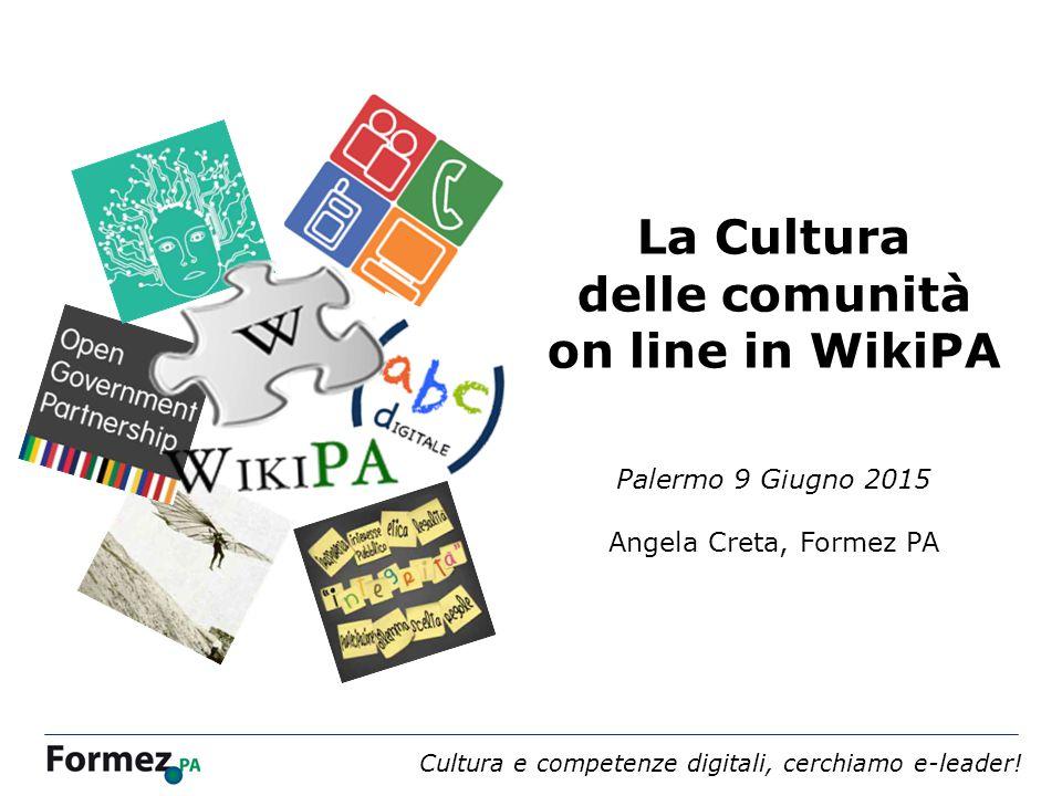 Webinar 4 dicembre 2013 /100 La Cultura delle comunità on line in WikiPA Palermo 9 Giugno 2015 Angela Creta, Formez PA Cultura e competenze digitali, cerchiamo e-leader!