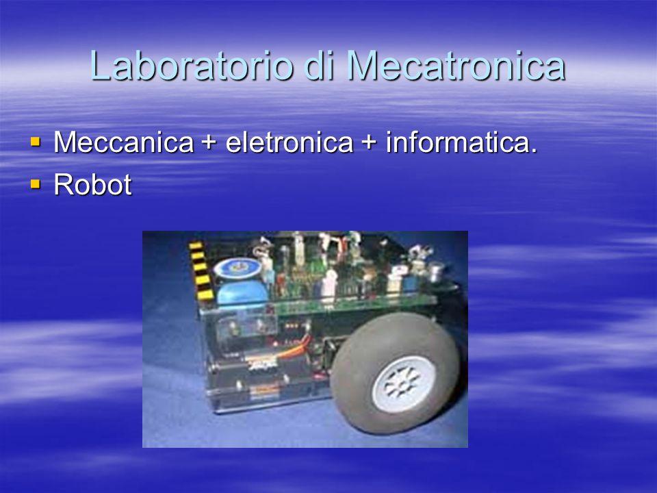 Laboratorio di Mecatronica  Meccanica + eletronica + informatica.  Robot