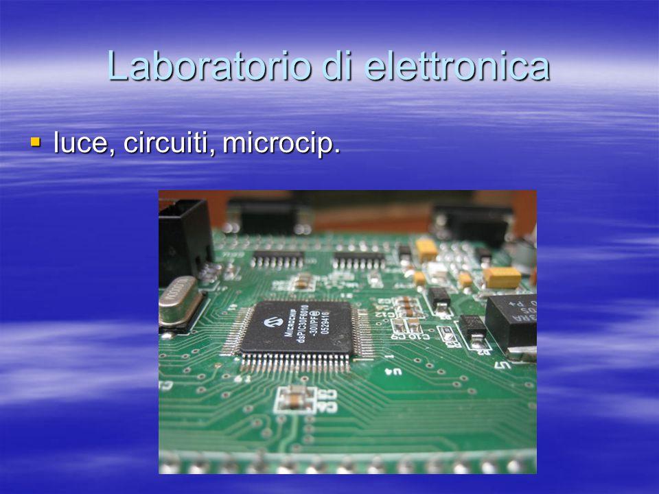 Laboratorio di elettronica  luce, circuiti, microcip.