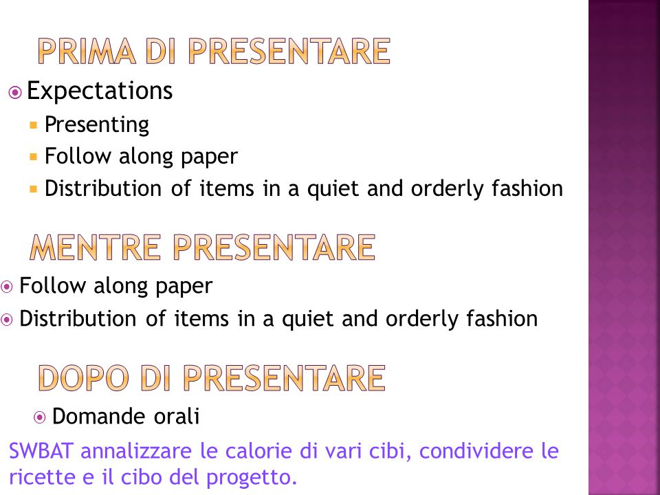  Expectations  Presenting  Follow along paper  Distribution of items in a quiet and orderly fashion  Follow along paper  Distribution of items in a quiet and orderly fashion  Domande orali SWBAT annalizzare le calorie di vari cibi, condividere le ricette e il cibo del progetto.