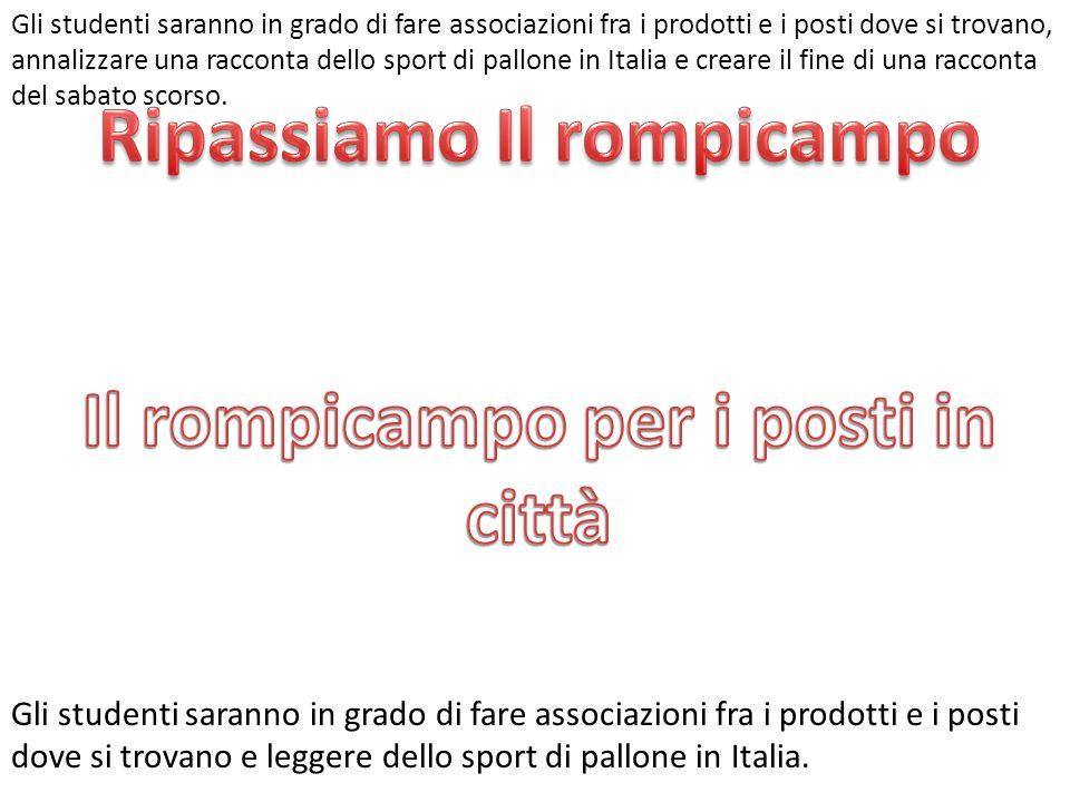 Gli studenti saranno in grado di fare associazioni fra i prodotti e i posti dove si trovano e leggere dello sport di pallone in Italia.