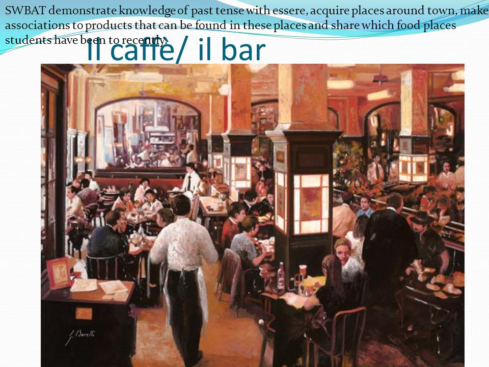 Il caffè/ il bar SWBAT demonstrate knowledge of past tense with essere, acquire places around town, make associations to products that can be found in these places and share which food places students have been to recently.