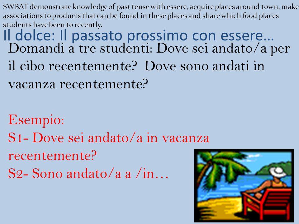 Il dolce: Il passato prossimo con essere… Domandi a tre studenti: Dove sei andato/a per il cibo recentemente.