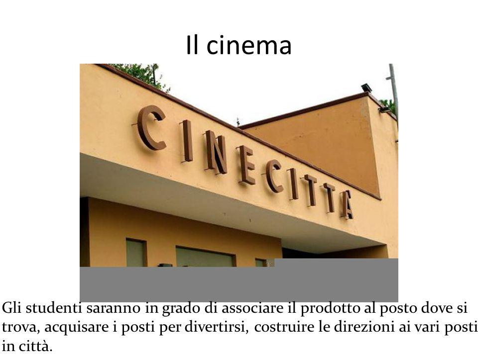 Il cinema Gli studenti saranno in grado di associare il prodotto al posto dove si trova, acquisare i posti per divertirsi, costruire le direzioni ai vari posti in città.