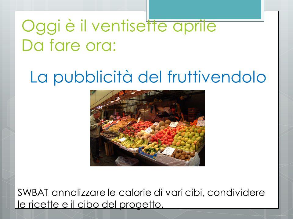 La pubblicità del fruttivendolo Oggi è il ventisette aprile Da fare ora: SWBAT annalizzare le calorie di vari cibi, condividere le ricette e il cibo del progetto.