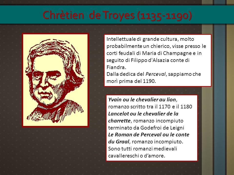 Yvain ou le chevalier au lion, romanzo scritto tra il 1170 e il 1180 Lancelot ou le chevalier de la charrette, romanzo incompiuto terminato da Godefro