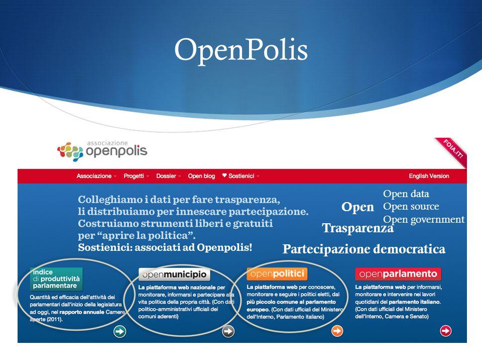 OpenPolis Open Trasparenza Partecipazione democratica Open data Open source Open government