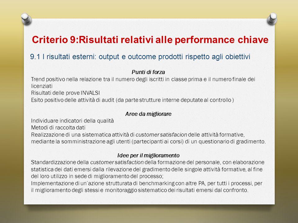 Criterio 9:Risultati relativi alle performance chiave 9.1 I risultati esterni: output e outcome prodotti rispetto agli obiettivi Punti di forza Trend