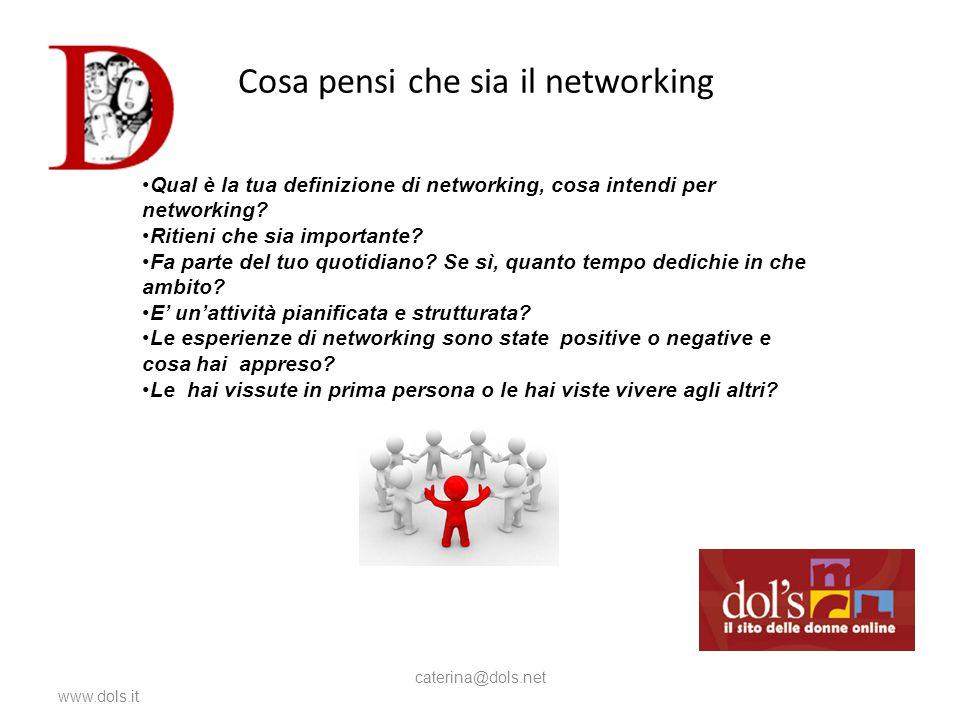 Cosa pensi che sia il networking www.dols.it caterina@dols.net Qual è la tua definizione di networking, cosa intendi per networking.
