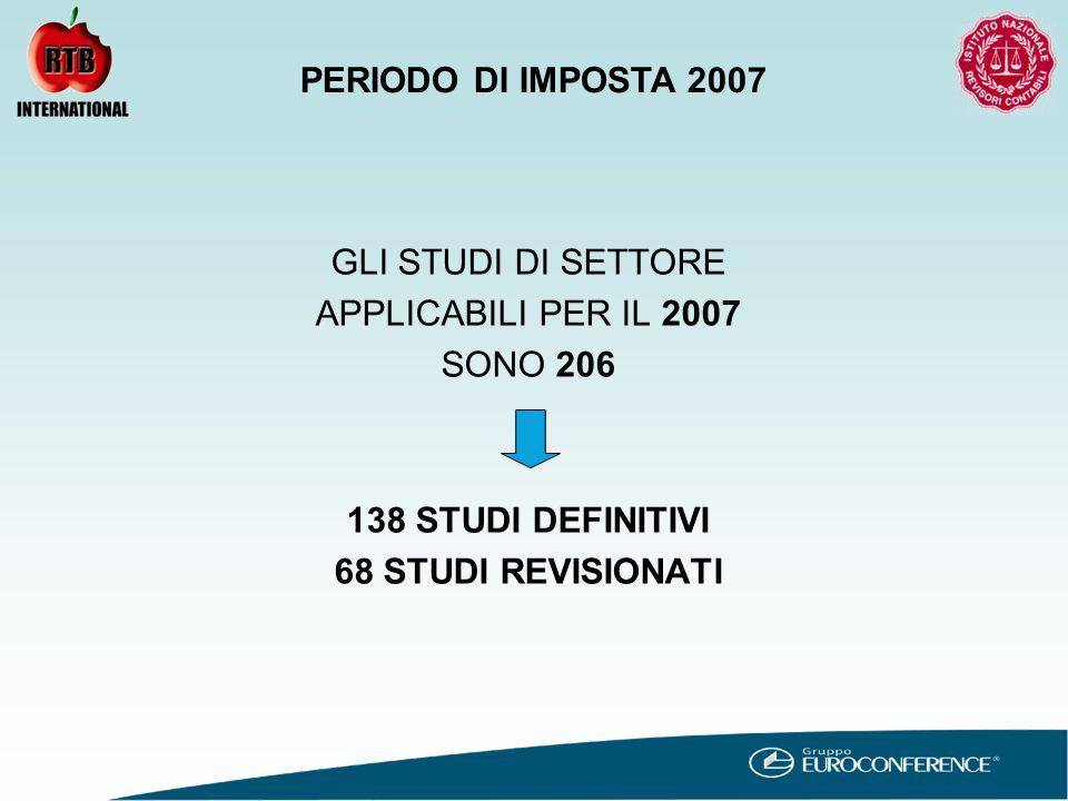 GLI STUDI DI SETTORE APPLICABILI PER IL 2007 SONO 206 138 STUDI DEFINITIVI 68 STUDI REVISIONATI PERIODO DI IMPOSTA 2007