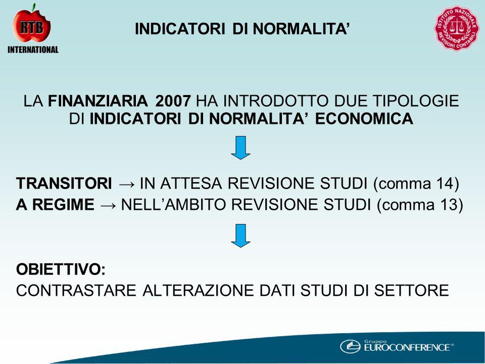 LA FINANZIARIA 2007 HA INTRODOTTO DUE TIPOLOGIE DI INDICATORI DI NORMALITA' ECONOMICA TRANSITORI → IN ATTESA REVISIONE STUDI (comma 14) A REGIME → NELL'AMBITO REVISIONE STUDI (comma 13) OBIETTIVO: CONTRASTARE ALTERAZIONE DATI STUDI DI SETTORE INDICATORI DI NORMALITA'