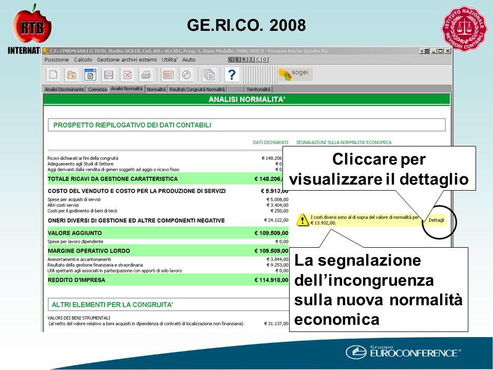 La segnalazione dell'incongruenza sulla nuova normalità economica Cliccare per visualizzare il dettaglio GE.RI.CO.