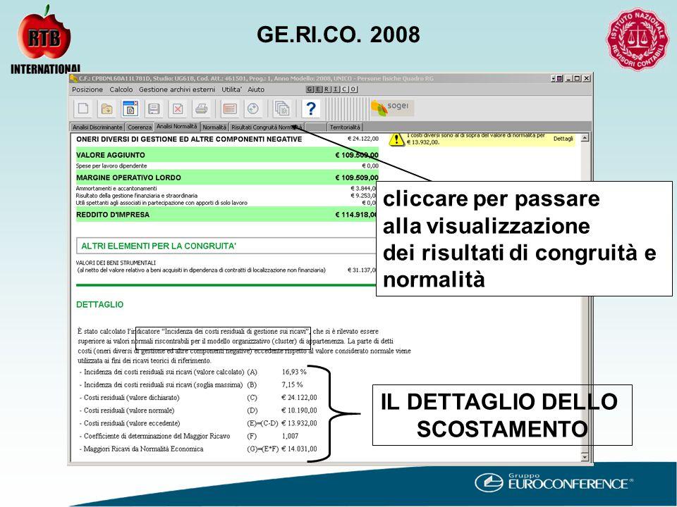 IL DETTAGLIO DELLO SCOSTAMENTO cliccare per passare alla visualizzazione dei risultati di congruità e normalità GE.RI.CO.