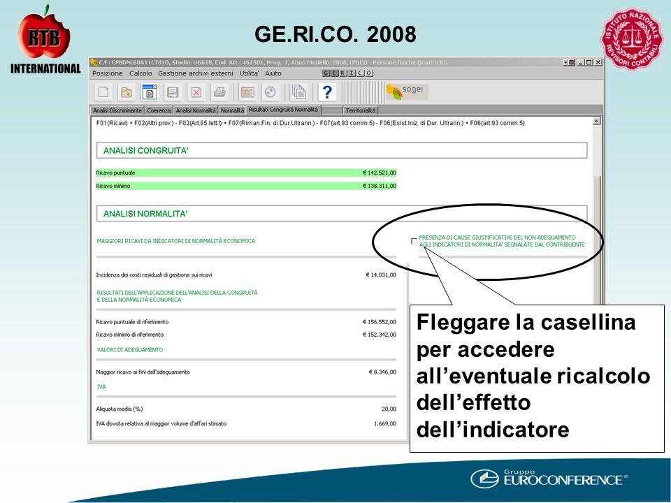 Fleggare la casellina per accedere all'eventuale ricalcolo dell'effetto dell'indicatore GE.RI.CO.