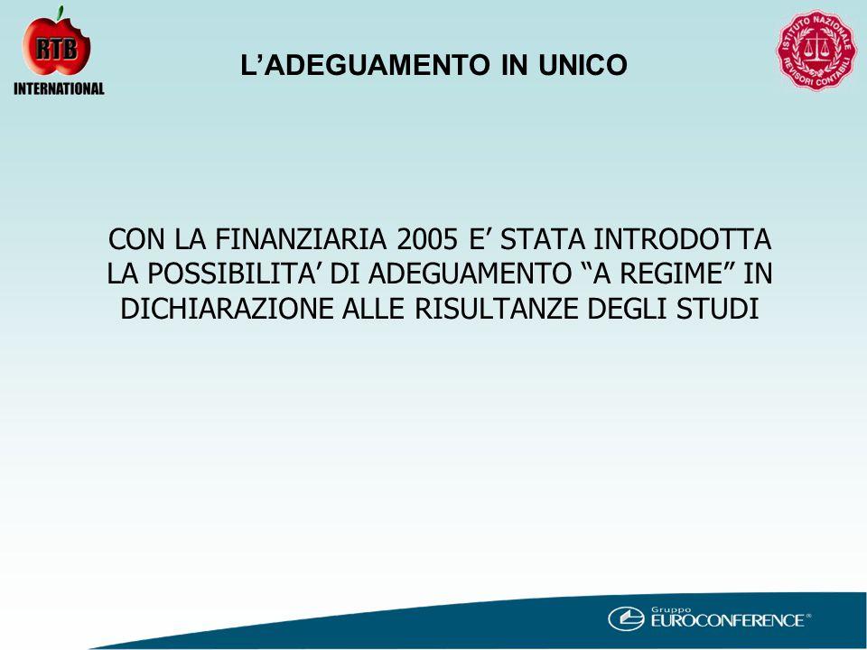 CON LA FINANZIARIA 2005 E' STATA INTRODOTTA LA POSSIBILITA' DI ADEGUAMENTO A REGIME IN DICHIARAZIONE ALLE RISULTANZE DEGLI STUDI L'ADEGUAMENTO IN UNICO