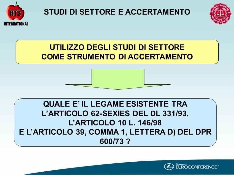UTILIZZO DEGLI STUDI DI SETTORE COME STRUMENTO DI ACCERTAMENTO QUALE E' IL LEGAME ESISTENTE TRA L'ARTICOLO 62-SEXIES DEL DL 331/93, L'ARTICOLO 10 L.