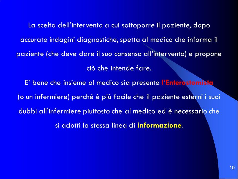 10 La scelta dell'intervento a cui sottoporre il paziente, dopo accurate indagini diagnostiche, spetta al medico che informa il paziente (che deve dar