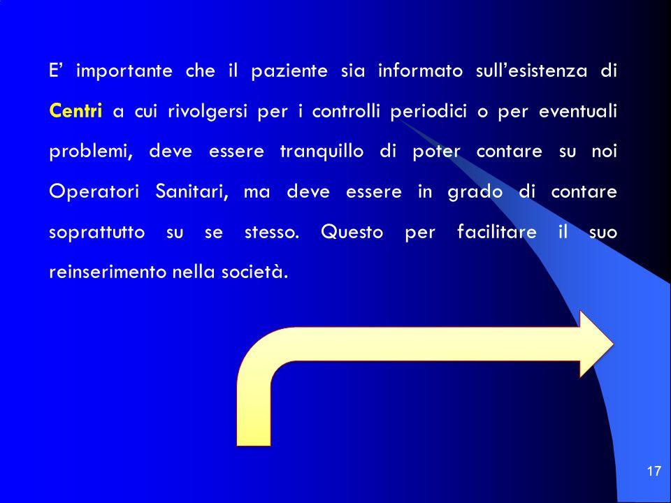 17 E' importante che il paziente sia informato sull'esistenza di Centri a cui rivolgersi per i controlli periodici o per eventuali problemi, deve esse