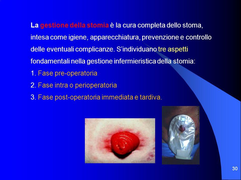 30 La gestione della stomia è la cura completa dello stoma, intesa come igiene, apparecchiatura, prevenzione e controllo delle eventuali complicanze.
