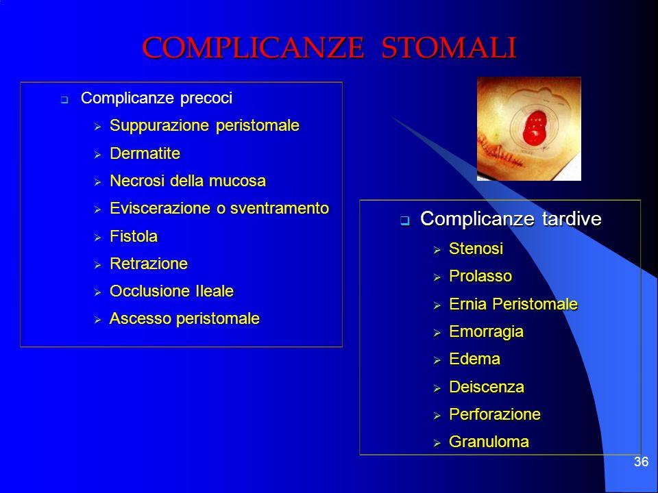 36  Complicanze precoci  Suppurazione peristomale  Dermatite  Necrosi della mucosa  Eviscerazione o sventramento  Fistola  Retrazione  Occlusi