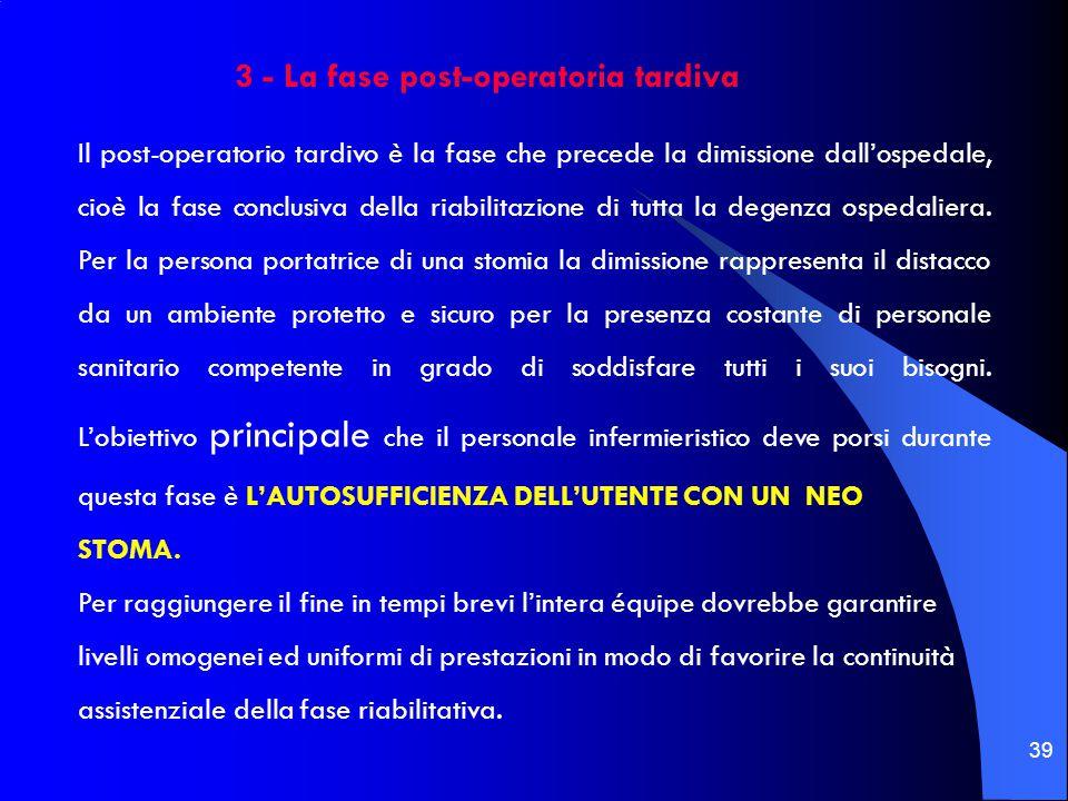 39 Il post-operatorio tardivo è la fase che precede la dimissione dall'ospedale, cioè la fase conclusiva della riabilitazione di tutta la degenza ospe
