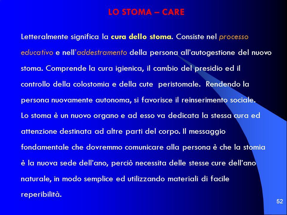 52 LO STOMA – CARE Letteralmente significa la cura dello stoma. Consiste nel processo educativo e nell'addestramento della persona all'autogestione de